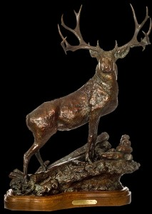 Deer Bronze Sculpture by Jeff Wolf