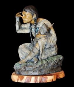 Native American Girl Bronze Sculpture by Jeff Wolf