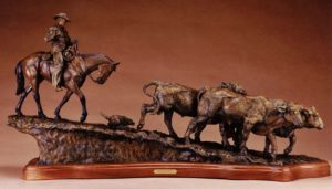 Bronze Sculpture of Cattle by Jeff Wolf