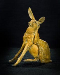 Jackrabbit sculpture in bronze by Jeff Wolf Studios