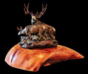 Bronze Mule Deer Sculpture by Jeff Wolf