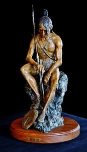 Bronze Sculpture of Native American by Jeff Wolf