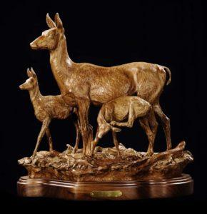Bronze Sculpture of Deer by Jeff Wolf